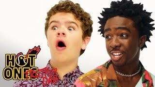 Stranger Things' Caleb McLaughlin and Gaten Matarazzo Play Truth or Dab | Hot Ones