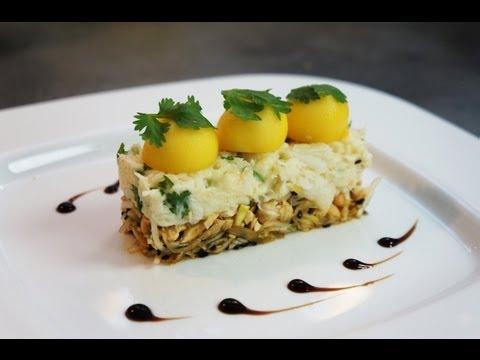 Recette d'entrée : crabe fondant citronné, coriandre, mangue et cajou