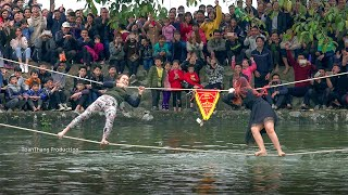Từ bé đến lớn mới được xem trò chơi đu dây qua sông phê như vậy | Rope swing water