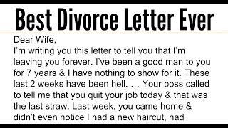 The Best Divorce Letter Ever.