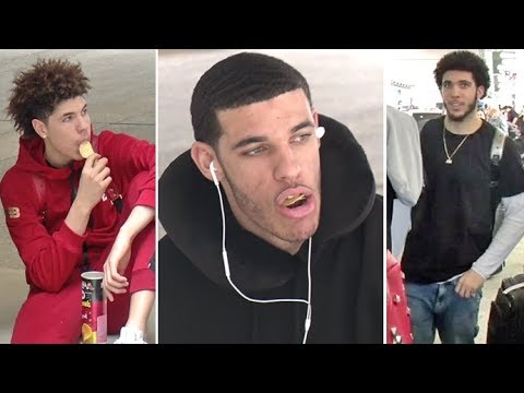 EXCLUSIVE - Lonzo Ball Escorts His Brothers LaMelo And LiAngelo Back To LA From Lithuania!