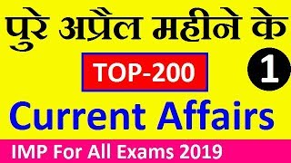 Monthly TOP-200 April 2019 Current Affairs (Part-1), April Current Affairs 2019 || Exam Forum