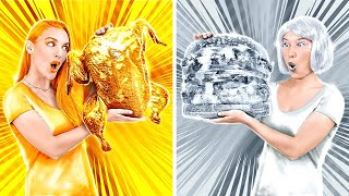GOLD VS SILVER CHALLENGE! Eating Everything In 1 Color For 24 HRS! TikTok Tricks By 123 GO!CHALLENGE