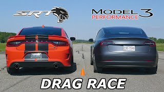 DRAG RACE - Dodge Charger SRT Hellcat vs Tesla Model 3 Performance // Throttle House Track Series