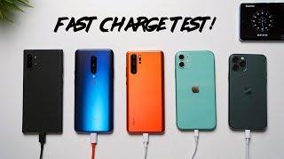 iPhone 11 vs iPhone 11 Pro vs Note 10+ vs P30 Pro vs OnePlus 7 Pro Charge Test!