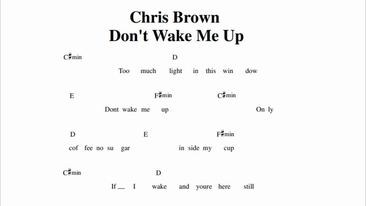 chris brown don 39 t wake me up guitar chords youtube. Black Bedroom Furniture Sets. Home Design Ideas