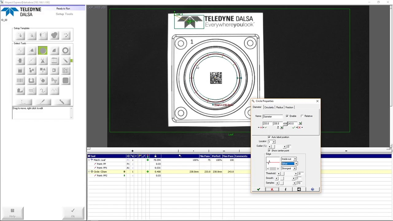 iNspect software – video tutorial – Circle tool