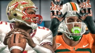 BATTLING JAMEIS WINSTON! #5 FSU vs #4 MIAMI! NCAA 14 Road to Glory Gameplay Ep. 25