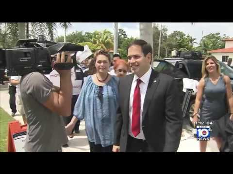Marco Rubio Greets Early Voters In Miami-Dade