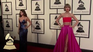 Taylor Swift & Selena Gomez | Fashion Cam | 58th GRAMMYs