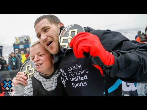 Daina Shilts and Mike Schultz win gold in Special Olympics Unified Snowboarding | X Games Aspen 2020