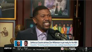 """Jalen & Jacoby SHOCKED when """"Cousins advises Zion to get ready for the NBA - NCAAM is """"BULL SHIT"""""""