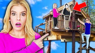 24 Hours inside a TREEHOUSE Escape Room in Real Life! Game Master Spy RZ Twin Trap!