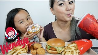 Wendy's Spicy Chicken Burger, Nugget Meal | Mukbang N.E Let's Eat