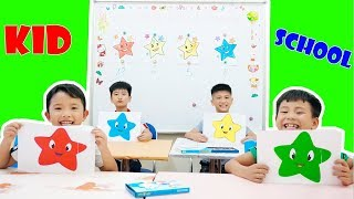 Kids go to School Learn Colors Stars Smiley Face   Twinkle Twinkle Little Star Song for Children