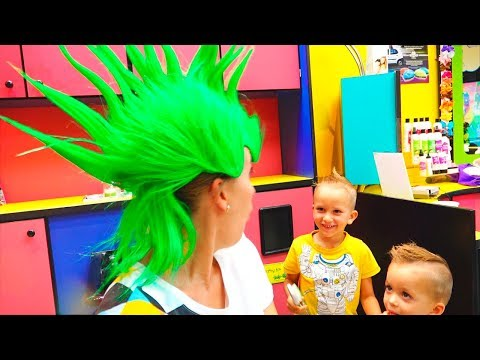 Vlad Nikita and Mommy in the kids hair salon! New hairstyles for children