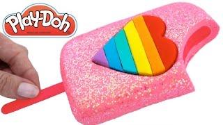Play Doh Frozen! Make Rainbow Heart Glitter Ice Cream with Play Dough Clay * RainbowLearning