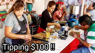 INSANE Street Food In Mexico – Incredible Tacos!! And Tipping $100 Dollars To Vendor At The End