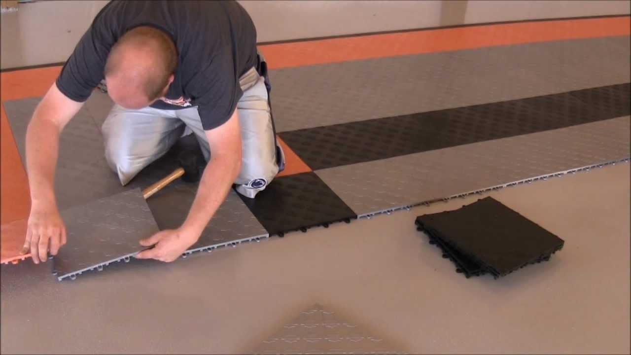 Harley Davidson Garage Floor Tile Install Youtube