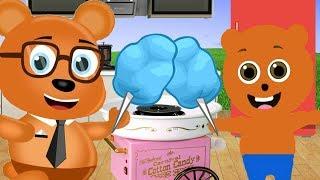 Mega Gummy bear Making Cotton Candy Cartoon Animation Nursery Rhymes