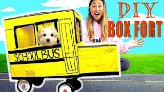 DIY BOX FORT SCHOOL BUS!! 📦🚌(IT ACTUALLY WORKS!)