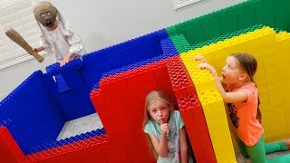 Teaching Granny to Babysit Our Baby Brother! Hide and Seek in Giant Lego Fort!