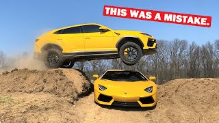 JUMPING My Lamborghini Urus OVER My Lamborghini Aventador!!! *MISTAKES WERE MADE*