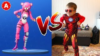 for Kids - Fortnite Dance Challenge in Real Life with Little Boy Superhero IronMan Adam