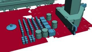 Работа центра пробивки-отрезки S4 с поясняющей анимацией