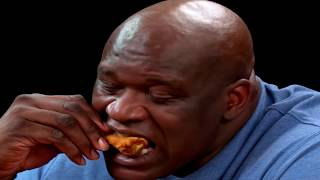"Shaq on ""Hot Ones"" but he can't stop eating fried chicken"