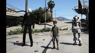 GTA 5 - Slenderman và PennyWise tranh giành trẻ em - Ai là kẻ mạnh | GHTG
