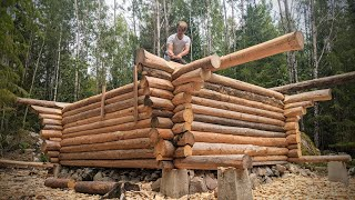 Off Grid Log Cabin Walls Finished   16   - One Man Traditional Log Cabin series