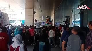 استقبال حافل لأبطال التايكوندو بمطار القاهرة