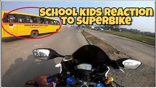School Kids Reaction To Superbike