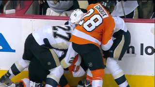 FULL Flyers vs Penguins Brawl ECQF Game 3(4/15/12)