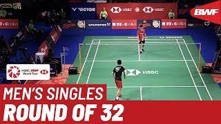 R32   MS   Kantaphon WANGCHAROEN (THA) vs. HUANG Yu Xiang (CHN)   BWF 2019