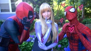 SPIDER-MAN & DEADPOOL meet SPIDER-GWEN - Real Life Superhero Movie - LOVE TRIANGLE