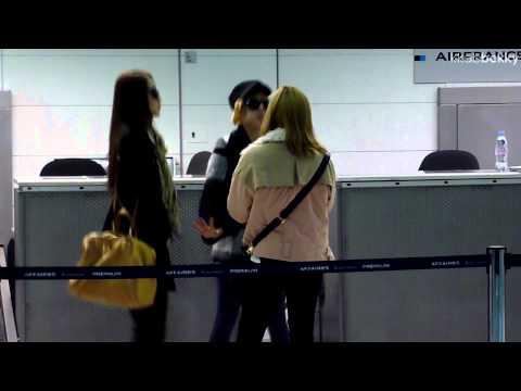 [Fancam] 120210 SNSD Girls' Generation Taeyeon Sunny Yoona CDG Airport