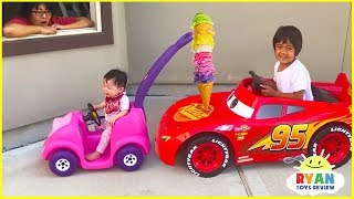 Ryan's Drive Thru Pretend Play Restaurant on Kids Power Wheels!!!