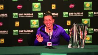 Video: Halep Tries To Lift Trophy