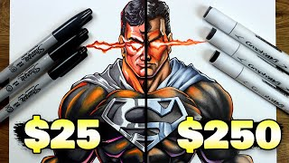 $25 vs $250 MARKER ART | Cheap vs Expensive!! Which is WORTH IT..? | Black Suit SuperMan
