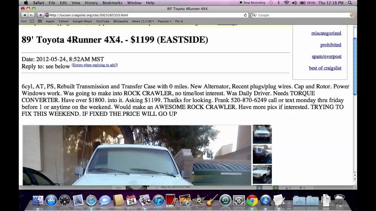 Craiglist Phoenix Az >> Craigslist Tucson Arizona - Used Cars, Trucks and SUVs Under $3000 Available in 2012 - YouTube