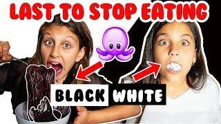 LAST to stop eating BLACK VS WHITE FOOD wins CHALLENGE! Mimi Locks