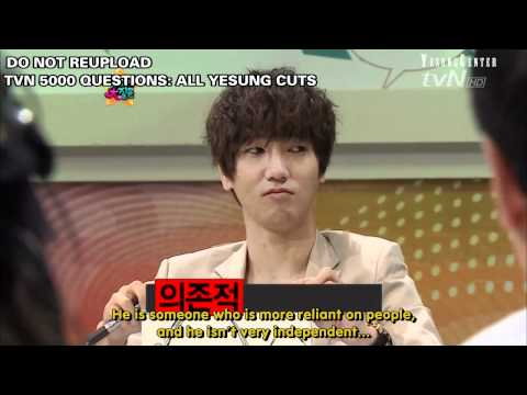 [engsub/HD] [Yesung cuts] 110506 tvN 5000 Questions: Yesung, Eeteuk, Heechul, Shindong