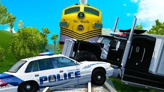Train Crashes Through Police Blockades - BeamNG Drive Police Chase Compilation