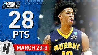 Ja Morant Full Highlights Murray State vs Florida State 2019.03.23 - 28 Points!