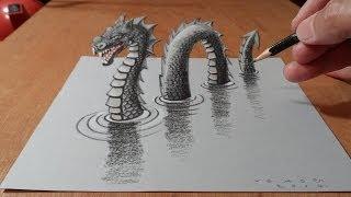 Рисуем 3D лохнесское чудовище – трюки рисунка дракона на бумаге