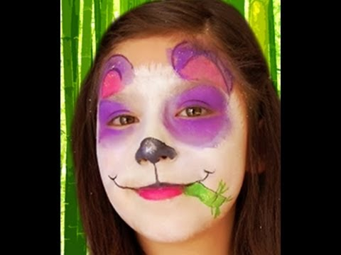 Simple Panda Face Paint Purple Panda Face Paint Design