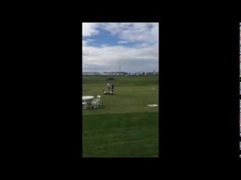 Clay Merchent riding a Golf Skate Caddy