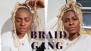 How to Box Braid Your Own Hair | Hippie Style with Extension #Uselessdiy